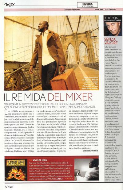 Articolo intervista Wyclef Jean su rivista Max