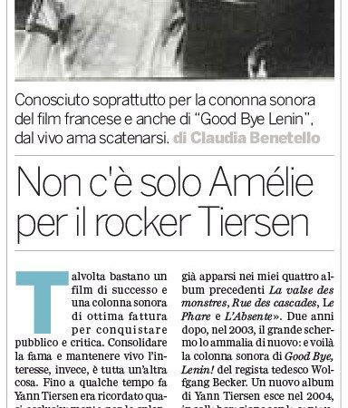 Intervista cantautore francese Yann Tiersen