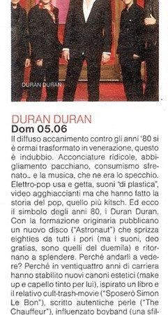 Articolo presentazione concerto Duran Duran Forum di Assago