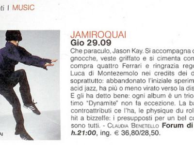 Articolo presentazione concerto Jamiroquai Forum di Assago Milano
