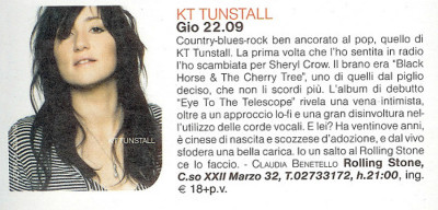 Articolo presentazione concerto KT Tunstall Rolling Stone Milano