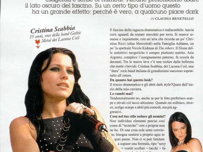 Articolo intervista Cristina Scabbia Lacuna Coil su Gioia