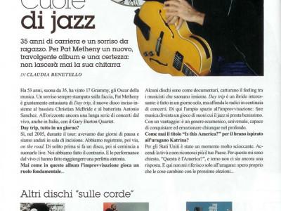 Articolo intervista chitarrista Pat Metheny su Gioia