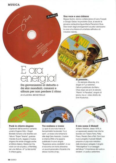 Album musicali consigliati estate, rivista Gioia