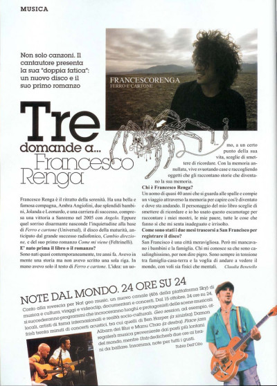 Articolo intervista Francesco Renga su Gioia