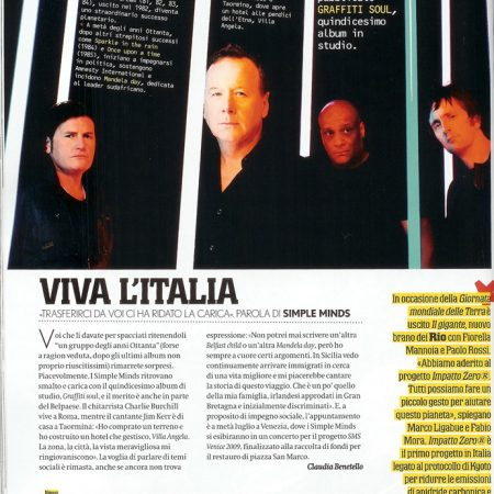 Articolo intervista Simple Minds su Max