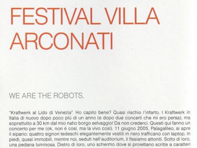 Articolo presentazione concerto Kraftwerk Villa Arconati Castellazzo di Bollate (MI)