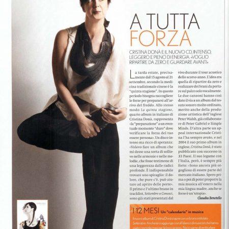 Articolo intervista cantautrice Cristina Donà su Max