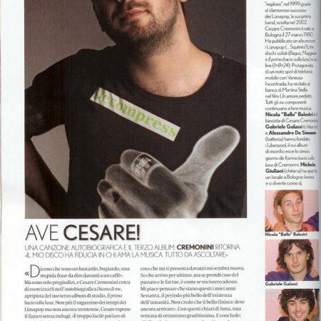 Intervista Cesare Cremonini per rivista Max