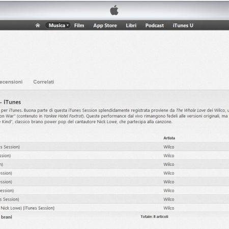 Traduzione inglese italiano blurb album iTunes Sessions - Wilco