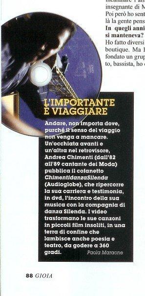 Segnalazione disco Andrea Chimenti su Gioia