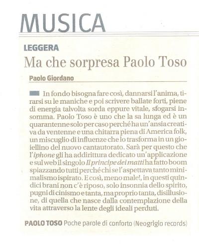 Recensione album Paolo Toso su Il Giornale