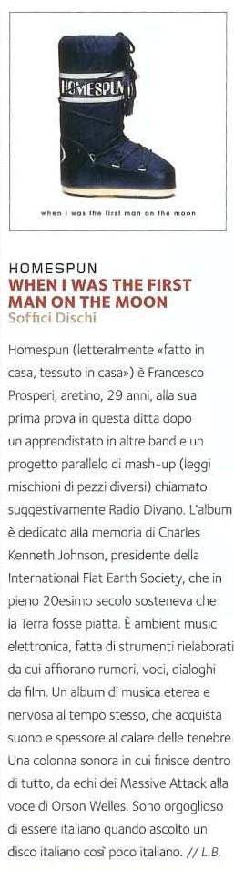 Recensione album Francesco Prosperi Homespun su GQ